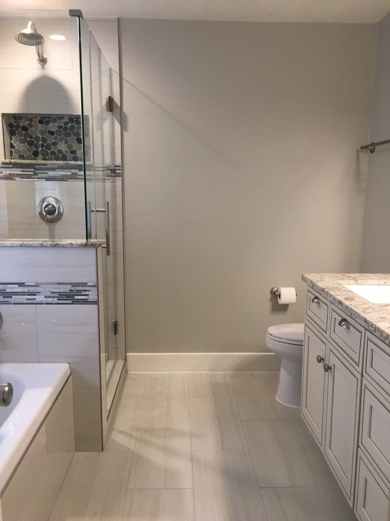 Beautifully remodeled bathroom, custom glass shower.